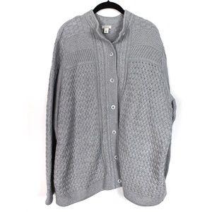 L.L.Bean 3X Grey Cable Knit Cardigan Sweated